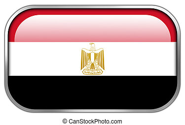 Egypt Flag rectangle glossy button