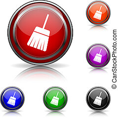 Sweep icon - Shiny glossy colored icons - six colors vector...