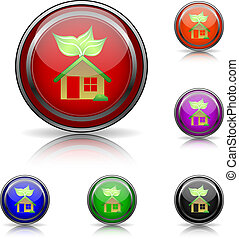 Eco house icon - Shiny glossy colored icons - six colors...