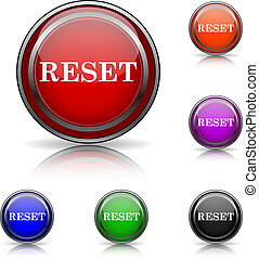 Reset icon - Shiny glossy colored icons - six colors vector...