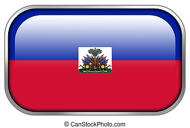 Haiti Flag rectangle glossy button