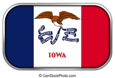 Iowa State Flag rectangle glossy button