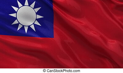 Flag of Taiwan - seamless loop - Flag of Taiwan gently...