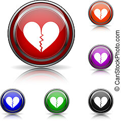 Broken heart icon - Shiny glossy colored icons - six colors...