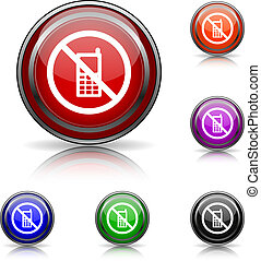 Mobile phone restricted icon - Shiny glossy colored icons -...