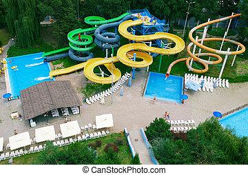 Panorama aquapark sliders, aqua park, water park, top view