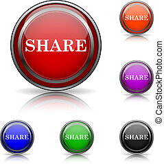 Share icon - Shiny glossy colored icons - six colors vector...