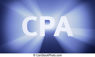 """Illuminated CPA - Radiant light from the acronym """"CPA"""""""