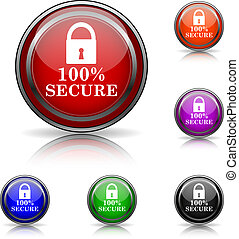 100 percent secure icon - Shiny glossy colored icons - six...