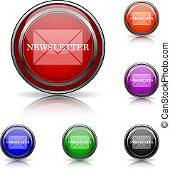 Newsletter icon - Shiny glossy colored icons - six colors...