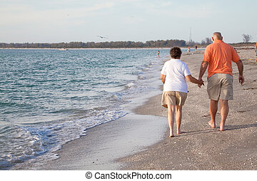 Seniors Walking on the Beach - Retired couple walking hand...