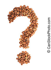 Question mark from coffee beans isolated on white background