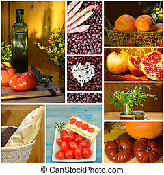 Collage healthy eating - Collage of food, fruit vegetables...