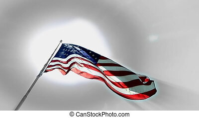 Flag Sun Up - High definition clip of the American flag...