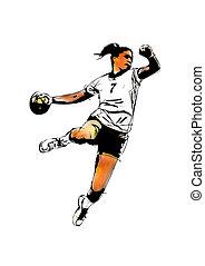 woman handball player illustration on white