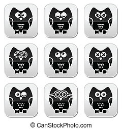Owl cartoon character vector button - Decorative black owl...