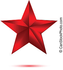3D red star on white