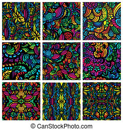 Set of nine hand-drawn seamless patterns - Hand-drawn...