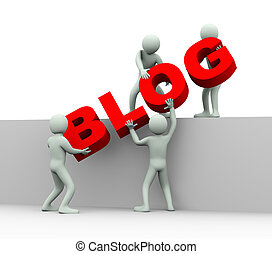 3d people - concept of blogging