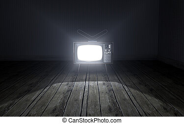 Empty Room With Illuminated Television - An old empty dark...