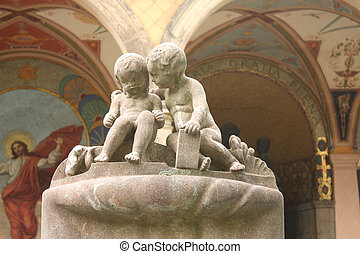 Vysehrad cementery sculpture - PRAGUE - JUNE 8: Sculpture of...