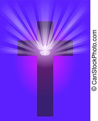 Cross with Dove and Light - An illustration of a cross with...