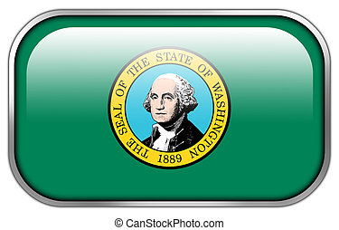 Washington State Flag rectangle glossy button