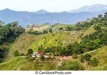 Green Hilly Landscape - Small shack surrounded by lush green...