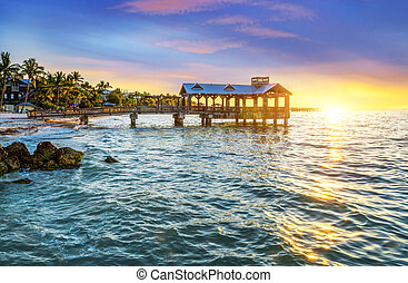 Keay west spirit - Pier at the beach in Key West, Florida...