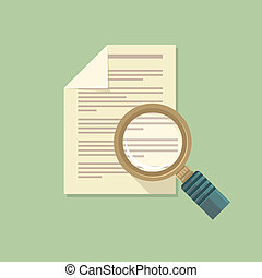 Vector flat magnifier and paper document - Vector icon in...