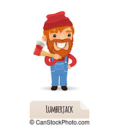 Lumberjack With Axe. In the EPS file, each element is...