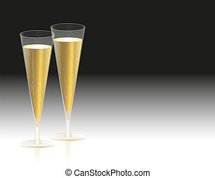 Champagne Glasses - Illustration of two glasses filled with...