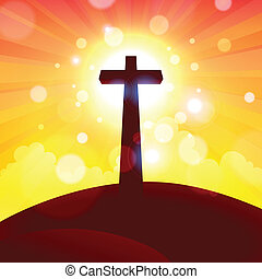 Glorious Cross at Sunset - Vector illustration of glorious...