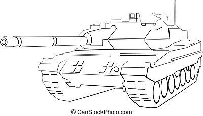 Army tank - Abstract army tank on white