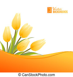 Orange card with tulips. Vector illustration.
