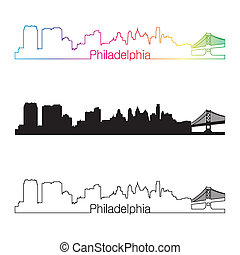 Philadelphia skyline linear style with rainbow in editable...