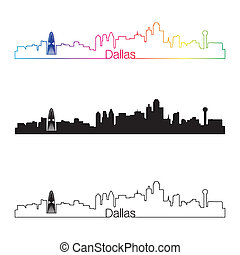 Dallas skyline linear style with rainbow in editable vector...