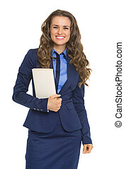 Happy business woman with book