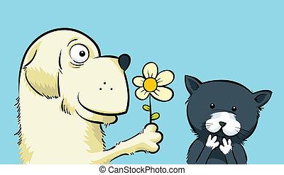 Flower for Kitty - A friendly cartoon dog offers a kitten a...