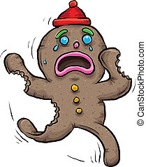 Gingerbread Injury - A sad, cartoon gingerbread map flees...