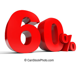 Red sixty percent off. Discount 60%. 3D illustration.