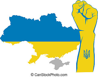 Fight for Ukraine - Raised fist and Ukraine map with gray...