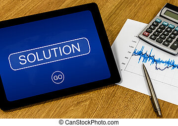 solution on digital tablet - solution word on digital tablet...
