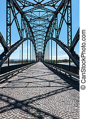 Bridge over Po river, Casei Gerola Italy - Iron bridge over...