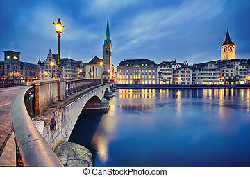 cityscape of night Zurich, Switzerland - view on Fraumunster...