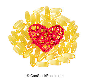 Vitamins omega 3, isolate on white background