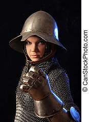 armour - The girl in a medieval knightly armour