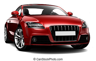 Small two-door sports car - Red sports car on a white...