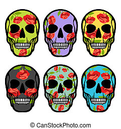 Set of skulls with flowers