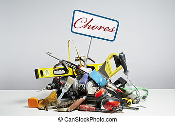 Do it yourself tools in pile on white background